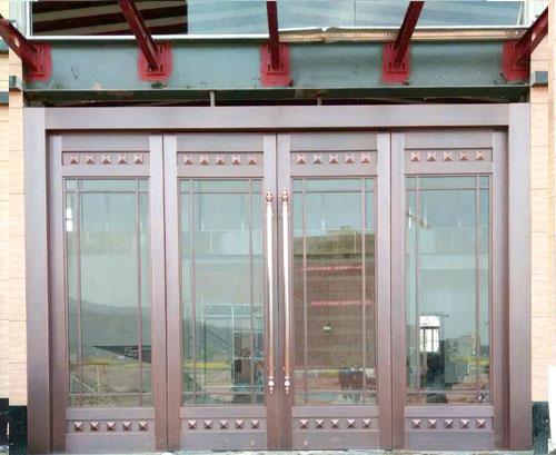 大堂玻璃四开铜门