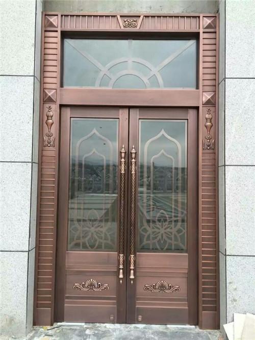 对开玻璃铜门