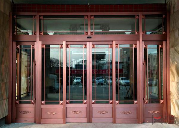 地产四开玻璃铜门