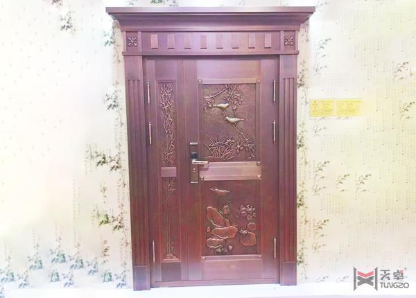 智能锁子母铜门