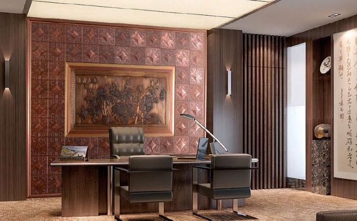 办公室铜背景墙