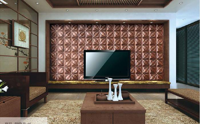 客厅铜背景墙