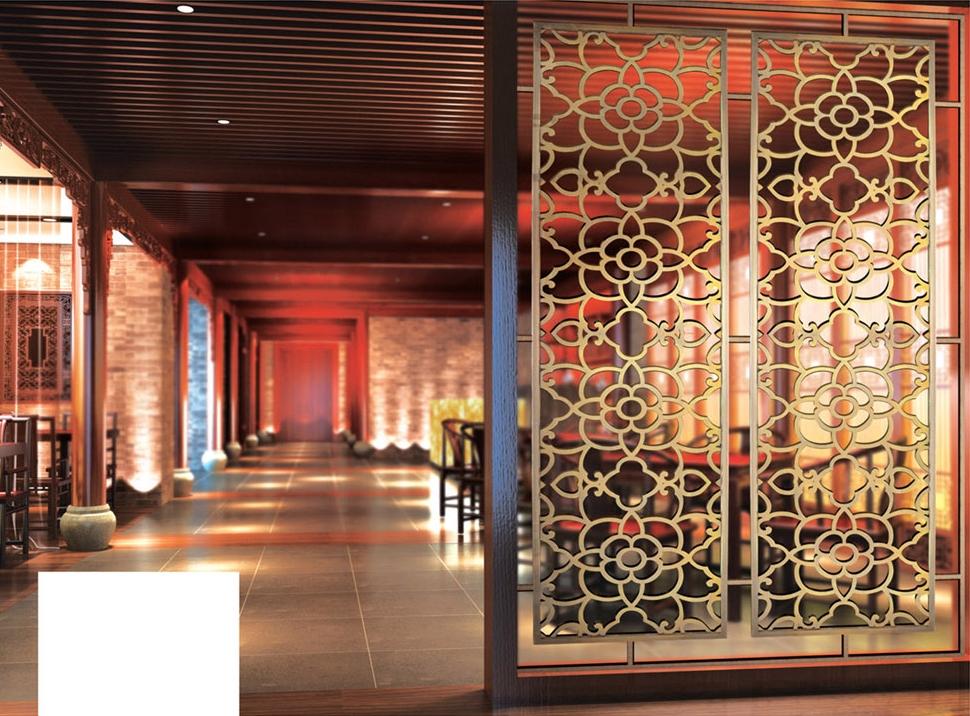 餐馆铜屏风