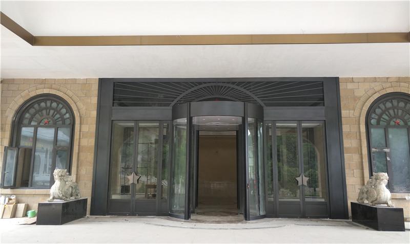 延安红星园酒店旋转门,铜窗、铜装饰