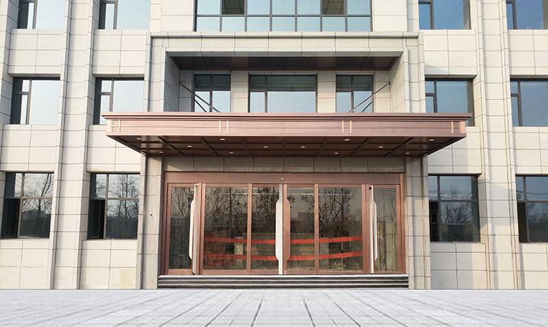 杨凌西部电缆办公楼铜自动门,铜雨棚