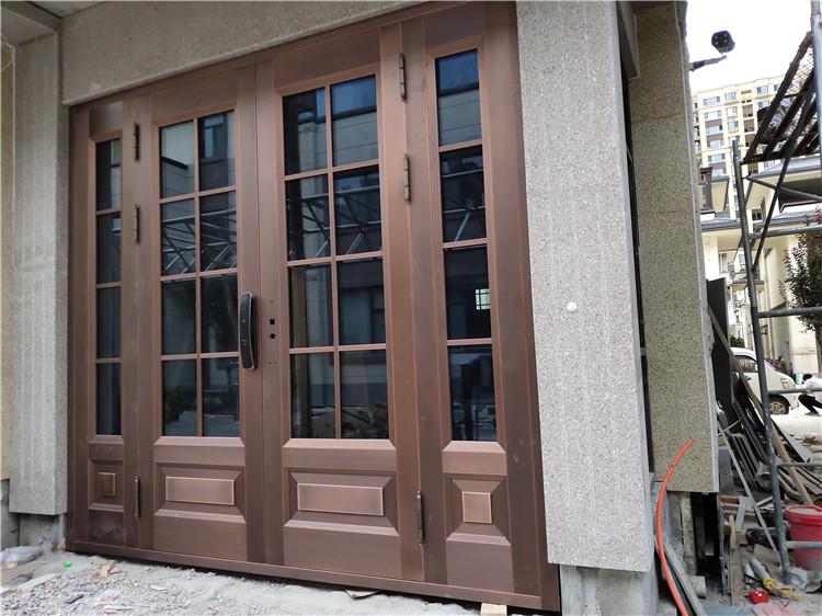 运城别墅玻璃入户对开纯铜门+单开铜门