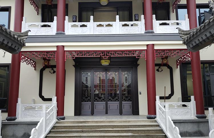 西安曲江公馆别墅中式铜门、自动门案例