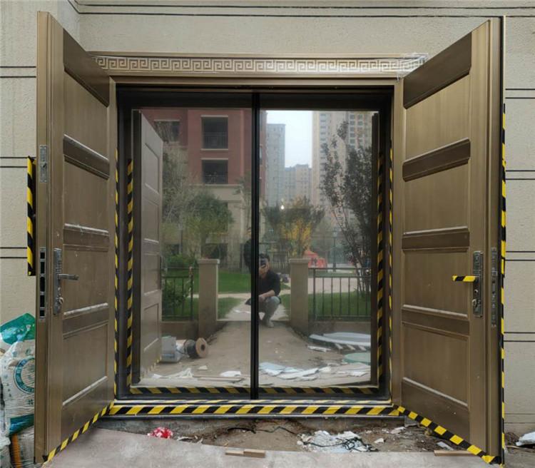 渭南别墅入户铜门自动门