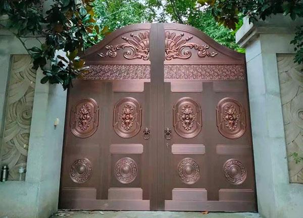 西安鄂邑区庭院铜门,大型纯铜院子大门