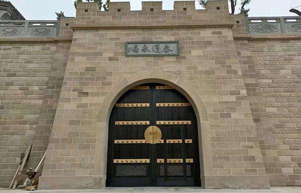 榆林农村庭院铜门,超大围墙院子铜大门
